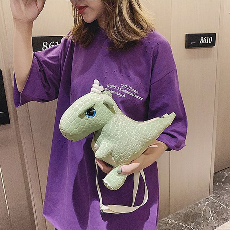 Velvet handbag 2019 new cute cartoon dinosaur backpack girl small bag toy messenger