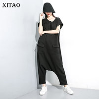 XITAO Tide Slim Pocket Black Jumpsuit Women Clothes 2019 Fashion Casual V Neck Plus Size Personality Full Length Pants ZLL4393