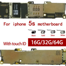 100% Original desbloqueado para iphone 5S placa base sin Touch ID/con Touch ID para iphone 5S placas lógicas gb 16 gb/32 gb/64 gb(China)