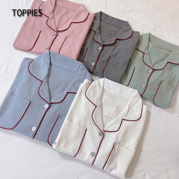 Toppies Women Pajamas Set Soft Cotton Sleepwear Female Tops and Pants Two Piece Set Casual