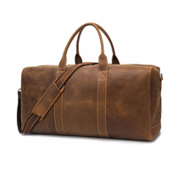Luufan oversized leather travel bag men male genuine leather weekender bag duffle tote bag roomy size 60cm full zipper