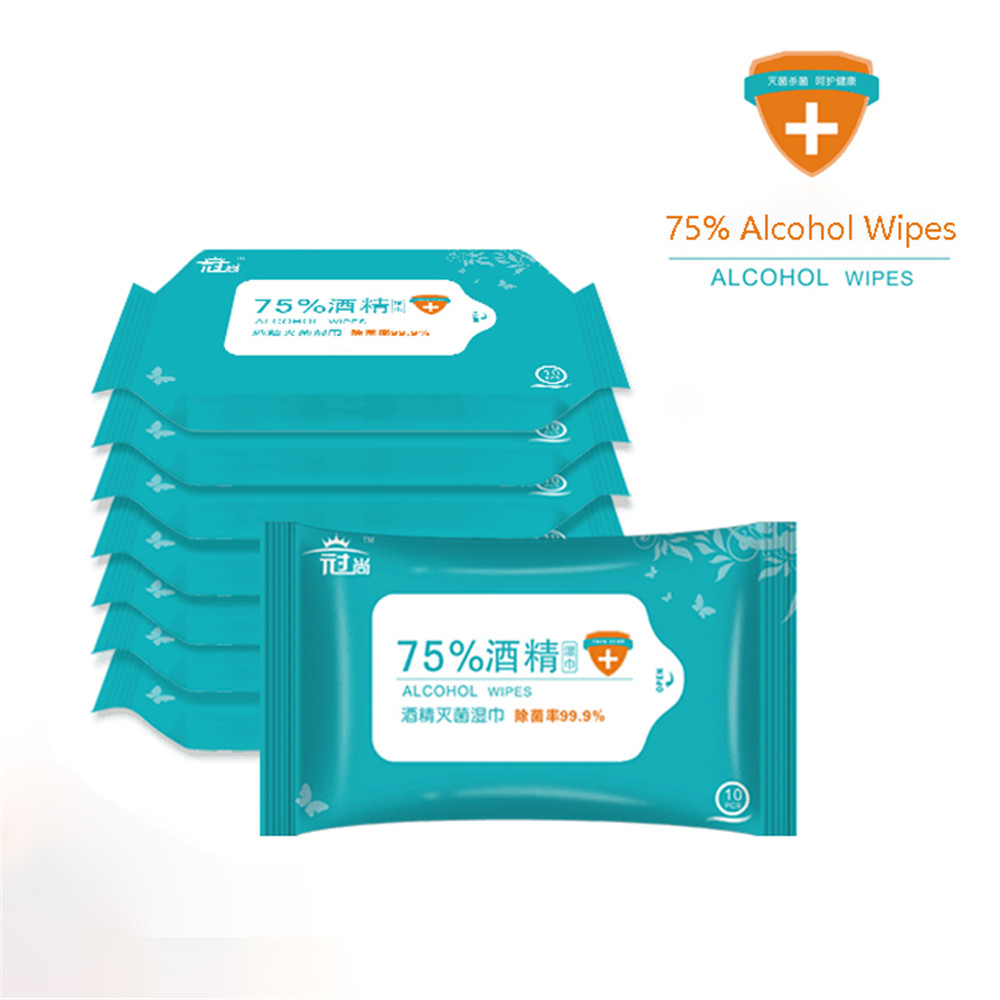 50PCS Portable 75% Alcohol Wet Wipe Mobile Phone Clean Antiseptic Skin Cleaning Care Sterilization First Aid Cleaning Tissue