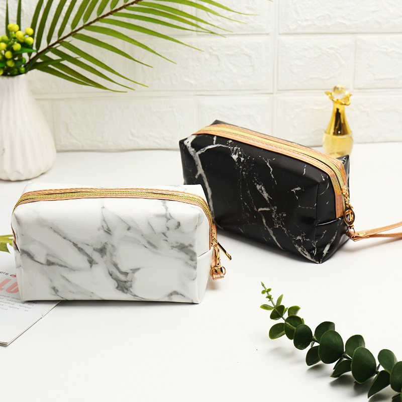Multifunction Black White Marble Flap Cosmetic Bag Women Men Travel Wash Storage Bags Organizer Makeup Cases Beauty Toiletry Kit