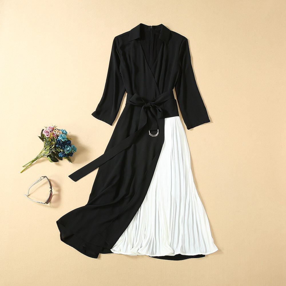 color block patchwork v neck three quarter sleeve Mid-calf length Pleated woman fall dress high fashion dress+belt