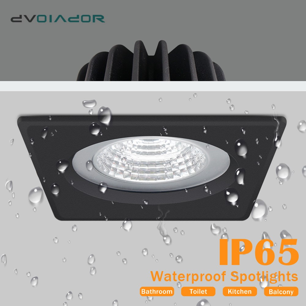 Square LED Downlight COB Recessed Lamp Round 15W 12W 7W IP65 Waterproof LED Spot Light For Bedroom Bathroom Led Down Light Lamp
