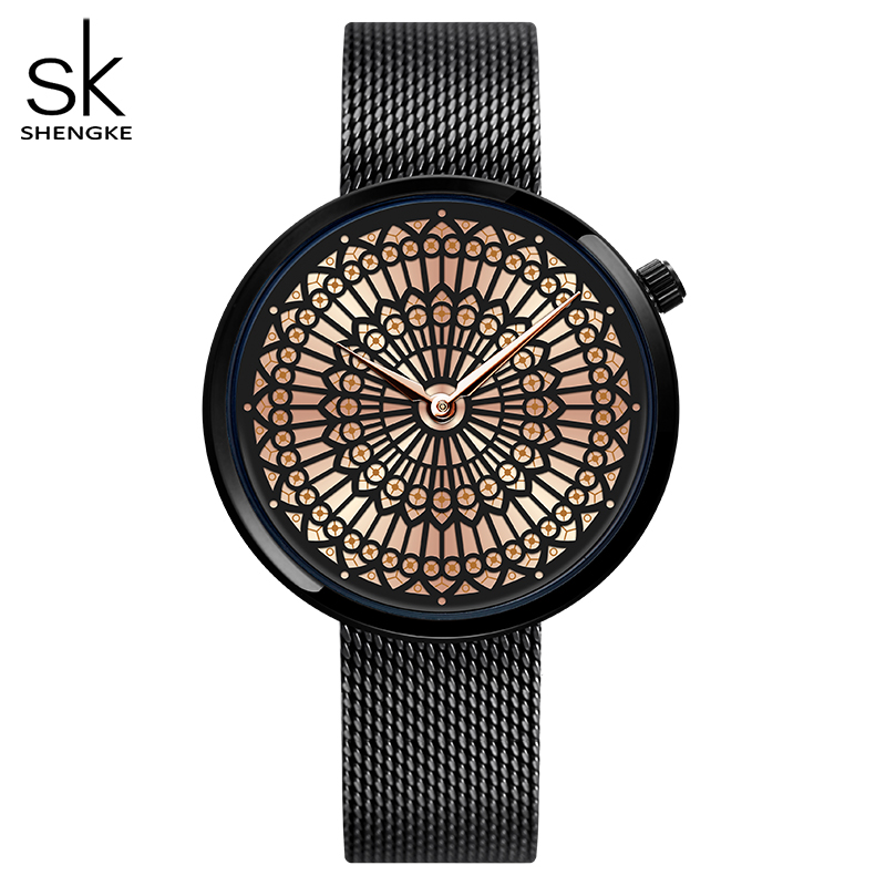 Shengke Luxury Brand Watch Women Fashion Dress Quartz Watch Ladies Full Steel Mesh Strap Waterproof Watches Relogio Feminino