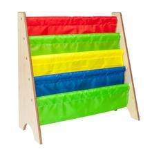 Тканевая полка МДФ книжная для журналов деревянный цвет и цветная