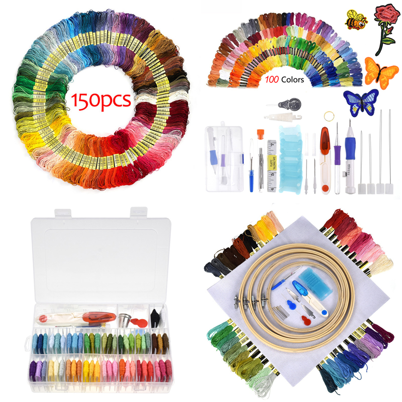 DIY Magic Embroidery Pen Punch Needles Tools Kits Cross Stitch Floss Threads Set