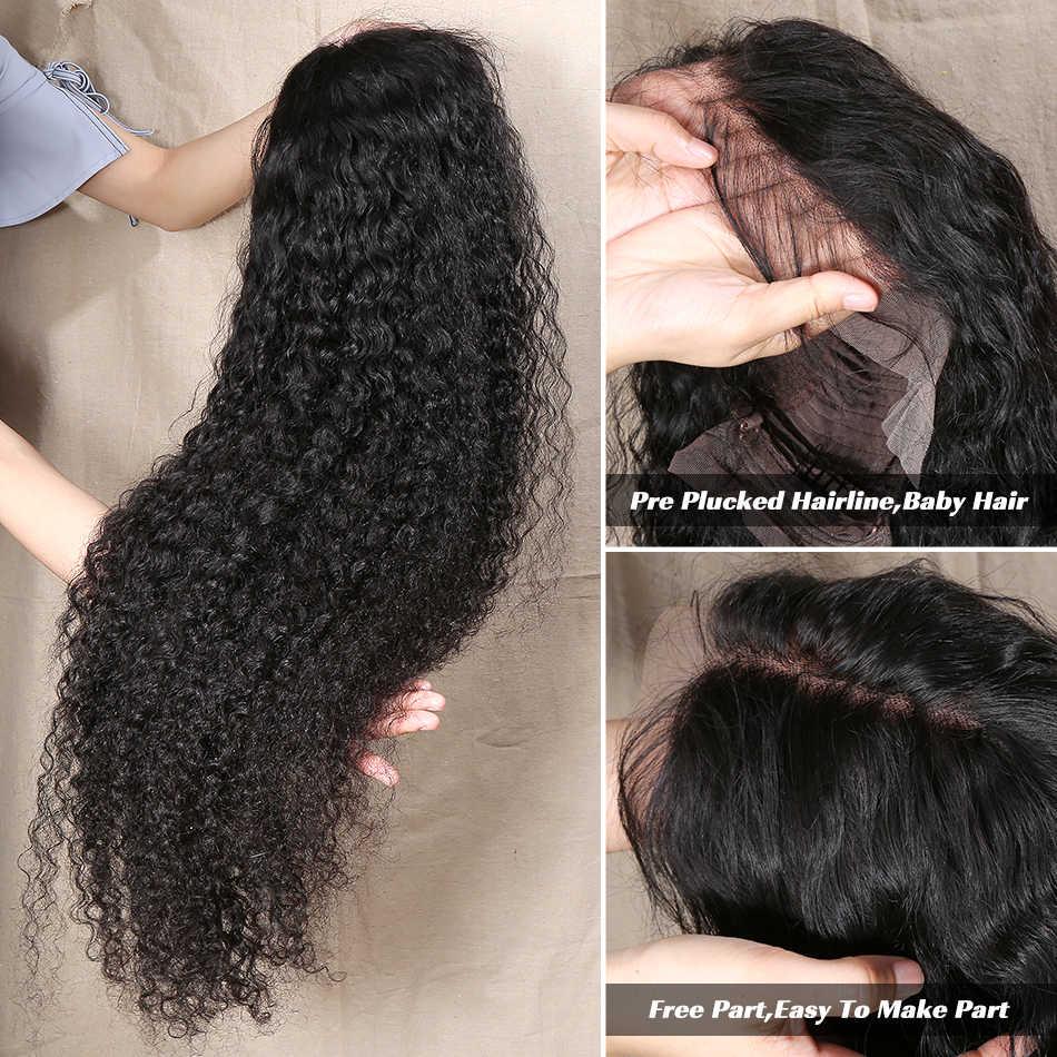 28 30 pulgadas 13x6 pelucas brasileñas del pelo humano del frente del cordón rizado peluca Frontal de la onda profunda Pre desplumado para las mujeres negras Peluca de la onda del agua Remy