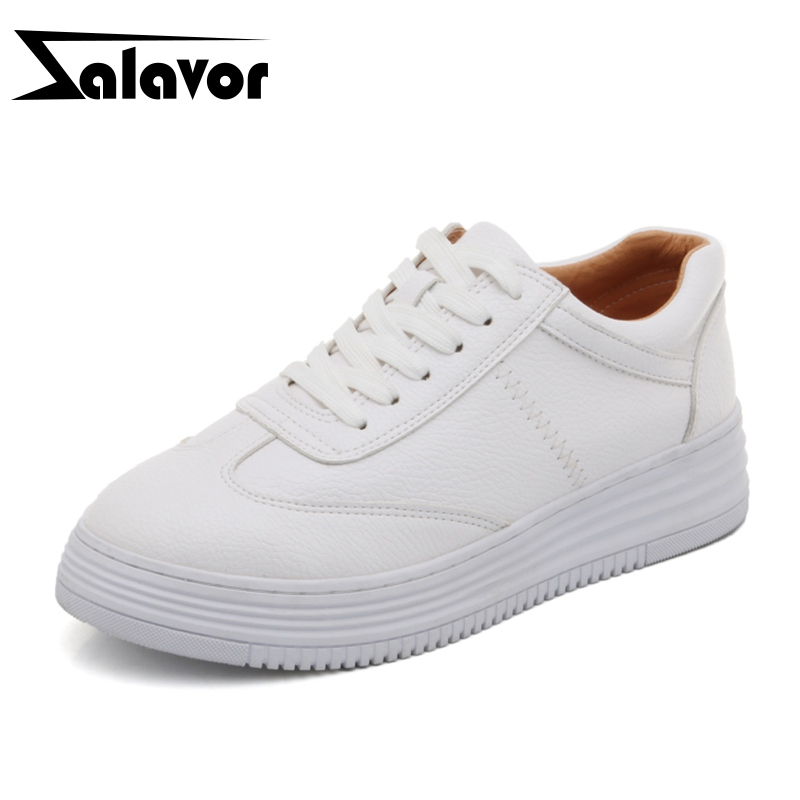 ZALAVOR Women Vulcanized Shoes Real Leather Small Shoes For Women Sneakers Lacing Round Toe Sewing Footwear Size 34-40