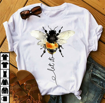 Let It Bee Shirt - Hippie Bee T-Shirt Graphic Tee Shirt New Fashion Diy Design