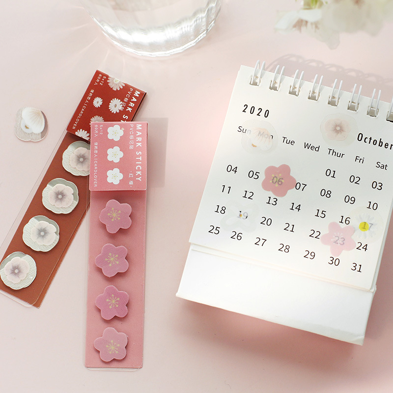 60 Pcs Cute Stickers PVC Pink Sakura Creative Calendar Stickers For DIY Decorative Bullet Journal Supplies Stationery Gifts