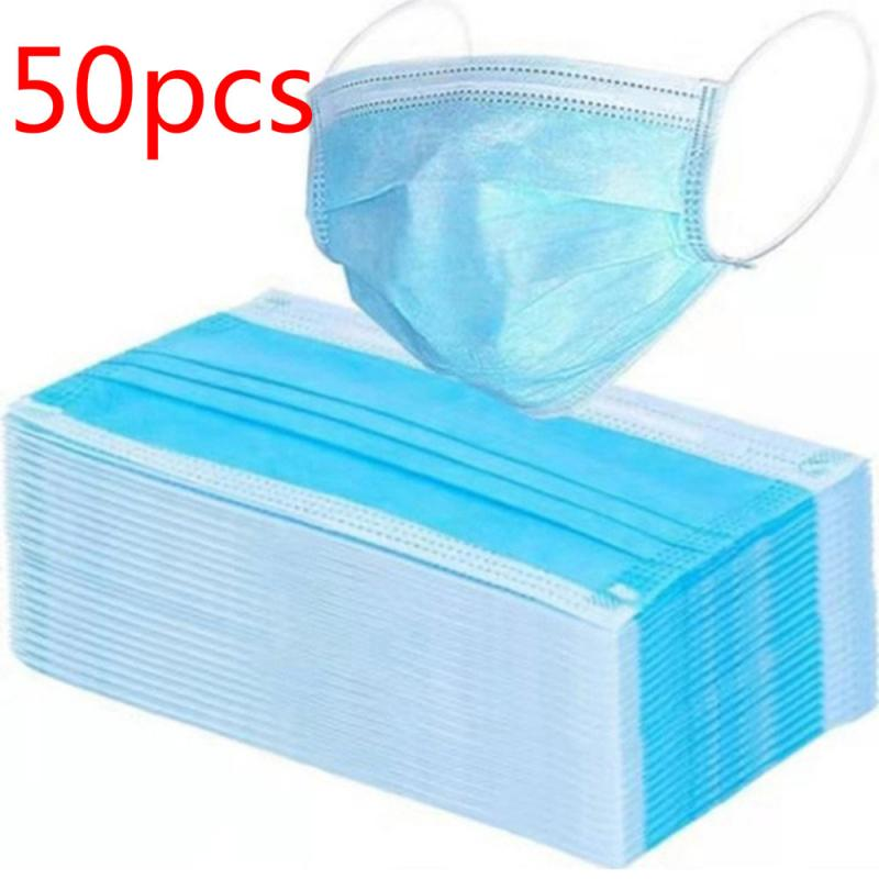 FFP2 50PC Disposable Nonwoven Antiviral Mouth Face Mask Hypoallergenic Anti-Dust Anti-bacterial Earloop Mask Anti  Mask Tool Kit