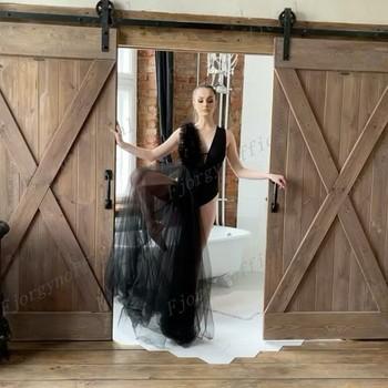 Asymetryczna dekolt w serek sukienka ciążowa czarny tiul sukienka ciążowa na sesja zdjęciowa damska sukienka na zamówienie wykonana z miękkiej tkaniny tanie i dobre opinie LOOSE CN (pochodzenie) Na wiosnę jesień V-neck Pasek spaghetti mankiety Wyjściowe Zwisające do podłogi POLIESTER Dla osób w wieku 18-35 lat