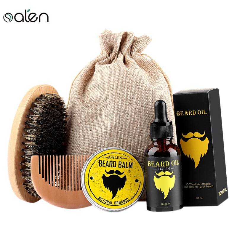 Oalen Beard Care Kit Balm Oil Beard Balm Beard Comb Beard Brush Beard Bag