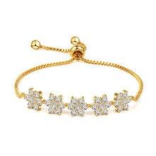 Hot Selling Chain Bracelet for Women Luxury Multicolor Cubic Zircon Inlay Charm Bracelet Bride Wedding Jewelry цена 2017