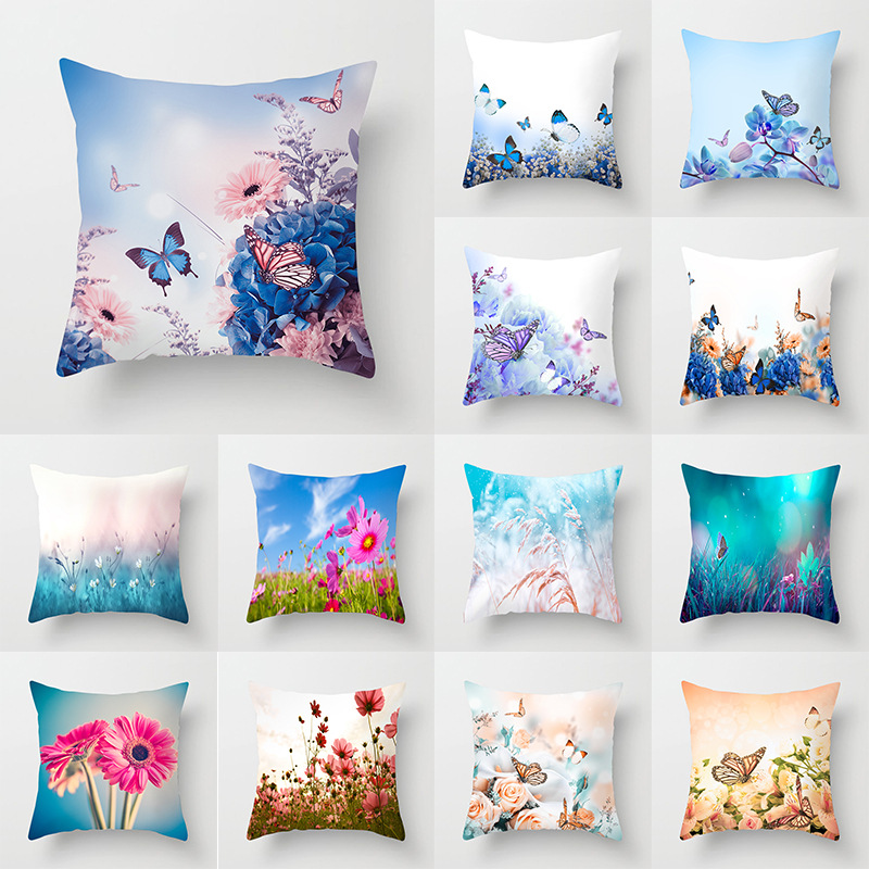 Pillow Case 45*45 Butterfly Flower Series Printed Polyester Pillowcase Square Decorative Pillowcase