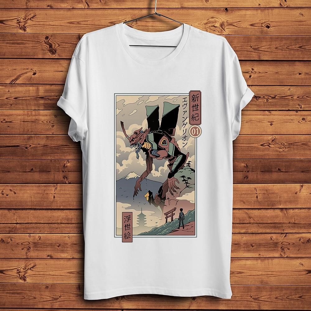 Japan Vintage Ukiyoe Style Eva EVA Funny Anime T-shirt Homme Manga Short Sleeve T Shirt Men Tshirt Unisex Streetwear
