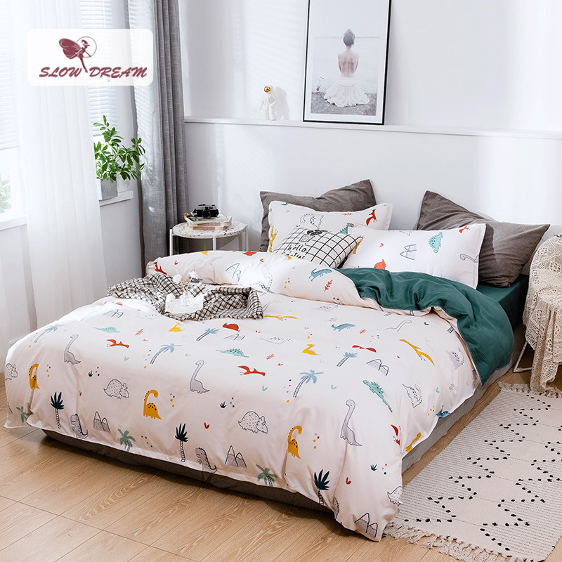 SlowDream Bedding Set Bed Cover Cartoon Dinosaur Child Bedspread Double Flat Sheet Set Duvet Cover Queen Adult Bed Linen Set|Bedding Sets|   - title=