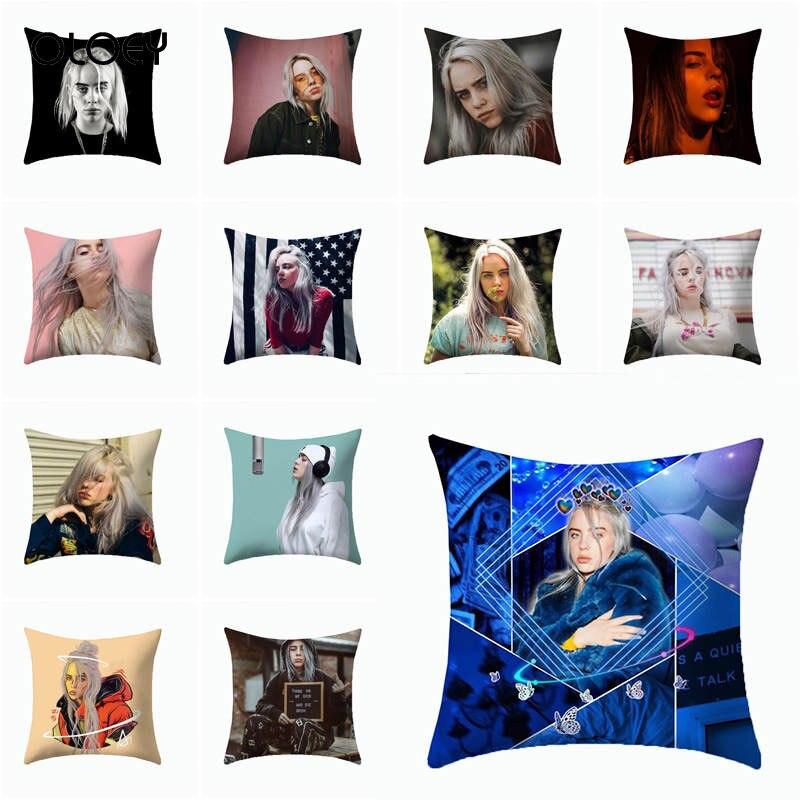 Print Polyester Pillowcase Home Decoration Pillow Pop Singer Billie Fans Home Decoration Throw Pillowcase Hotel Decoration   ...