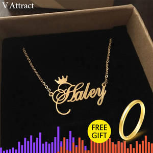Necklace Women Jewelry Choker Crown Custom Rose-Gold Personalized Name Femme Gift Cursive