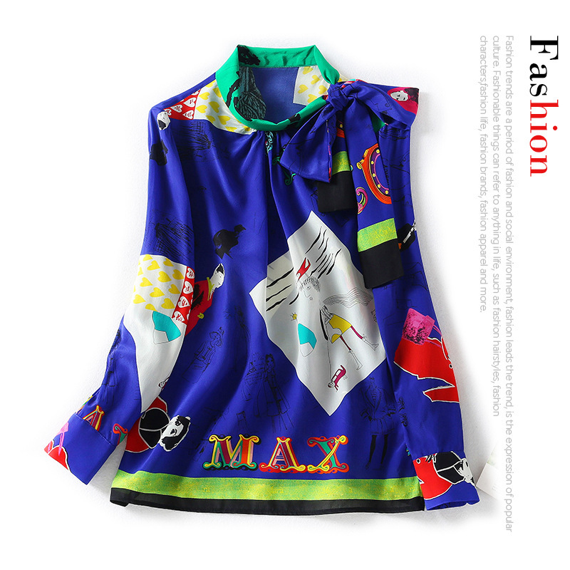 New style tie bow at one side of neckline children s interesting figure Print Long Sleeve loose silk shirt top