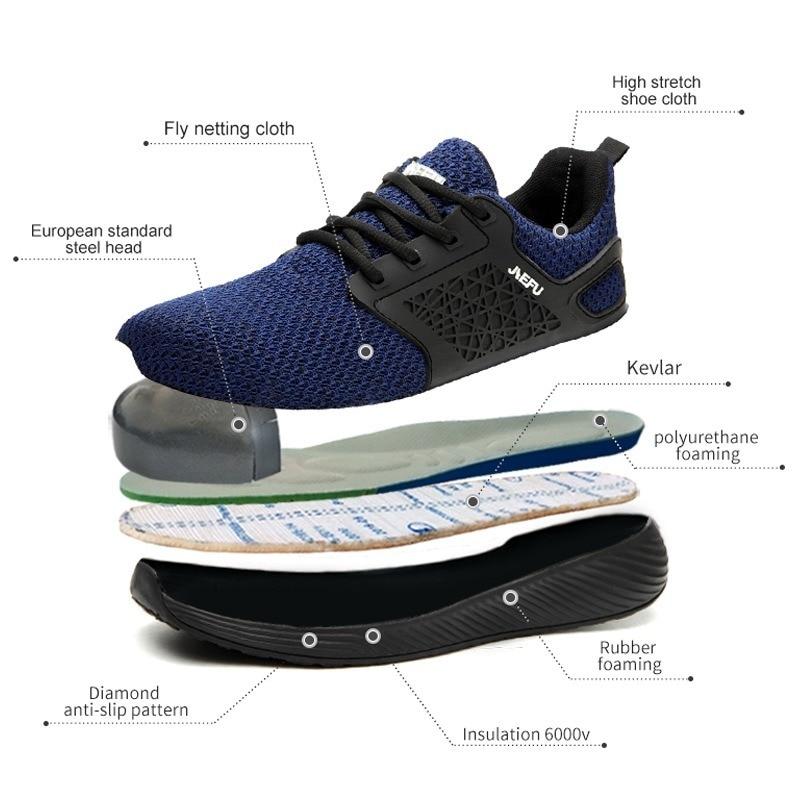 XIZOU 2020 automne acier orteil travail chaussures de sécurité grande taille en acier embout protecteur chaussures confort antistatique hommes bottes grande taille 48