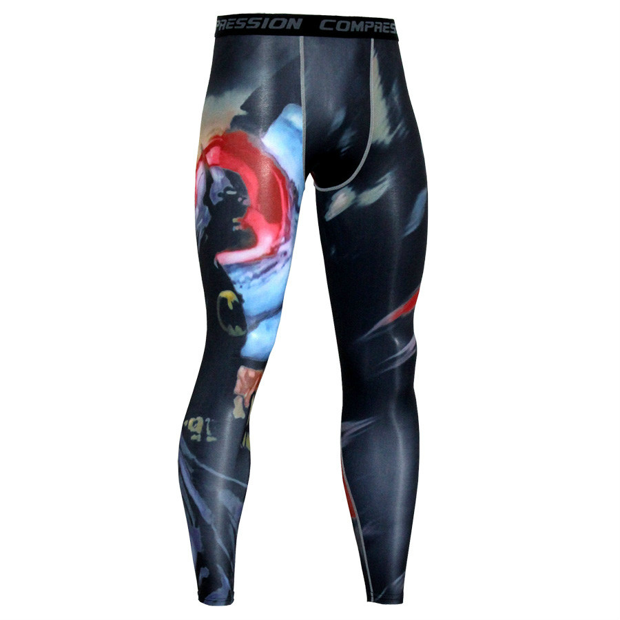 2019 Sport Leggings Running Tights Men 3D Print Fitness Compression Pants Joggers Quick Dry Exercise Base Layer Mens Trousers in Running Pants from Sports Entertainment