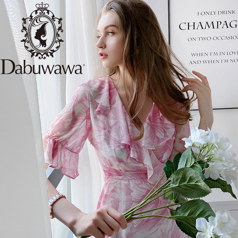Dabuwawa Beach Boho Elegant Pink Long Chiffon Dress Women V Neck Ruffle Sleeve Party Sexy Dress Women Summer DT1BDR089