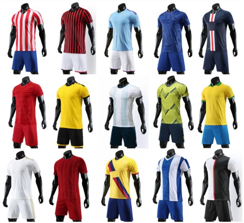 19 20  Mens Blank Custom Print Adult Kids  Soccer Jerseys Training Uniform Survetement Football Kit