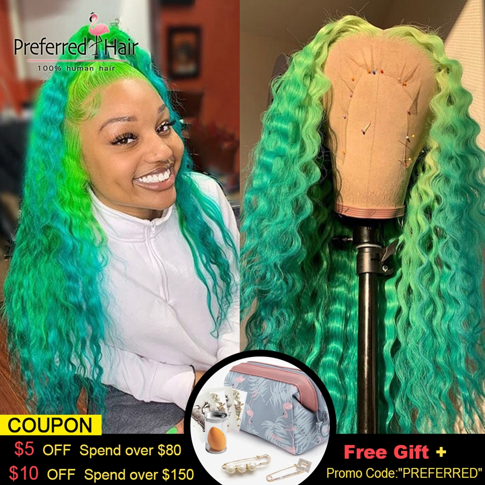 Preferred Red Curly Human Hair Wig Green Ombre Lace Front Wig Preplucked Brazilian Remy Transparent Lace Wigs For Women