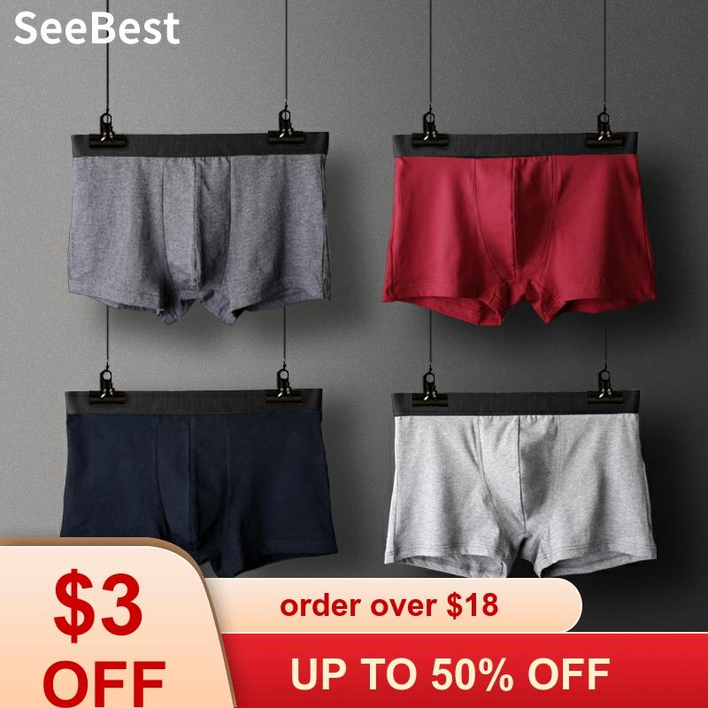 SeeBest Mens Boxer Set Cotton Underwear For Male Breathable Loose Underpants Large Plus Size 6XL Shorts Solid Brand Winter 100KG