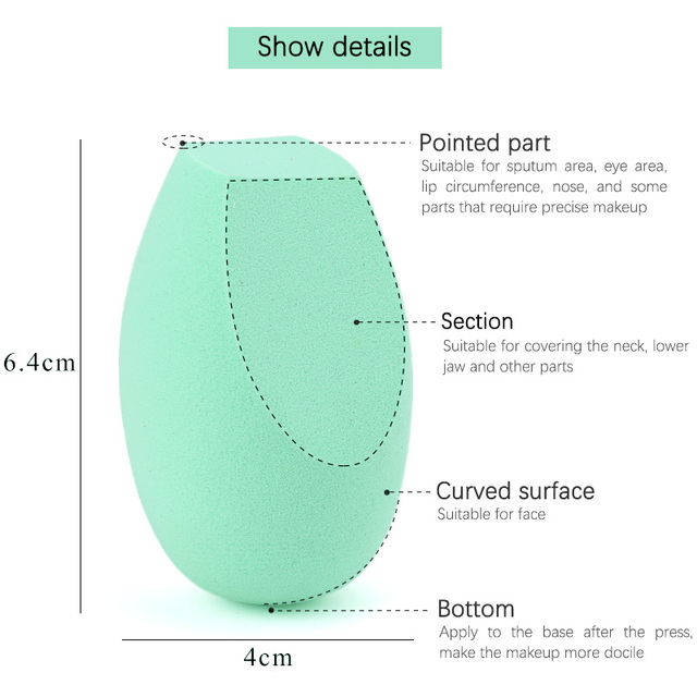 Makeup Sponge Concealer Smooth Cosmetic Powder Puff Cut Shape Foundation Water Drop Bevel Make Up Blender Tool 4
