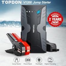 TOPDON V1200 Jump Starter Peak 1200A Car Emergency Jump starter Booster Battery Power Bank 12800mAh Auto Car Charger for 12V Car