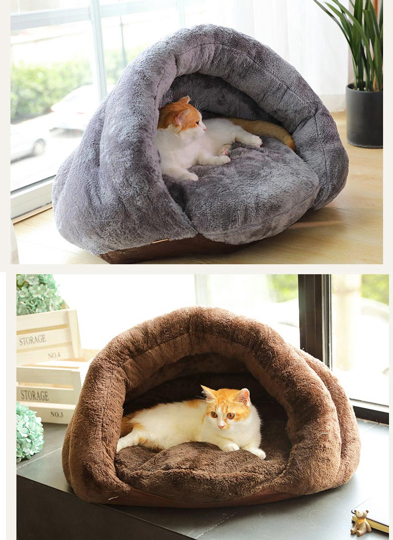 Triangle Pet bed for Small Cats Dogs Soft Nest Kennel Bed Cave House Sleeping Bag Mat Pad Tent Pets Winter Warm Cozy Beds Supply 12