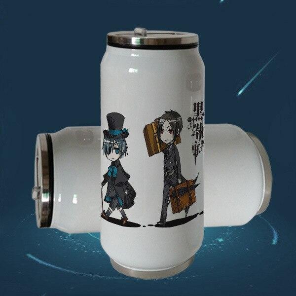 Kuroshitsuji charles sebastian isolado garrafa de aço inoxidável preto mordomo estudantes vidro criativo