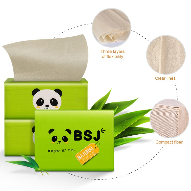 1 Pack 100sheets Facial Tissue Napkin Paper Bamboo Pulp Natural Color Pumping Paper Gentle Skin-friendly
