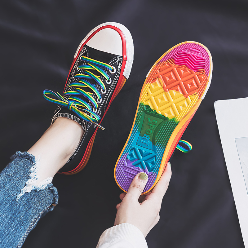 Rimocy Black Canvas Shoes Women Colorful Rainbow Sneakers Mujer Casual Color Bottom Flat Shoes Basket Femme 2019 Autumn