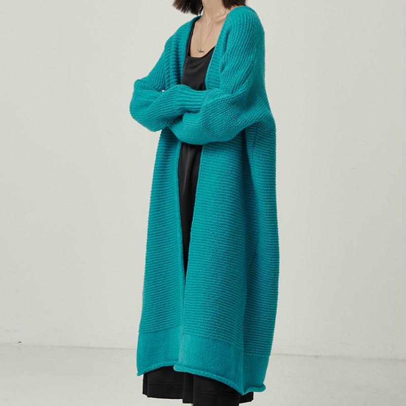 Paon bleu tricot haut pour femme Cardigans automne hiver chandails Cardigan tricoté lâche Long manteau 2019 grande taille chandail LB001