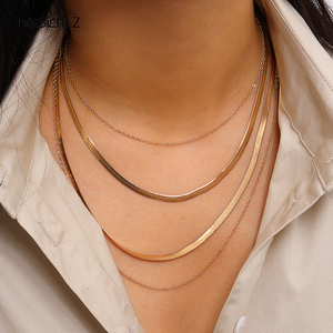 IngeSight.Z Punk Multi Layered Flat Blade Snake Link Chain Choker Necklace Simple Gold Color Collar Necklaces for Women Jewelry