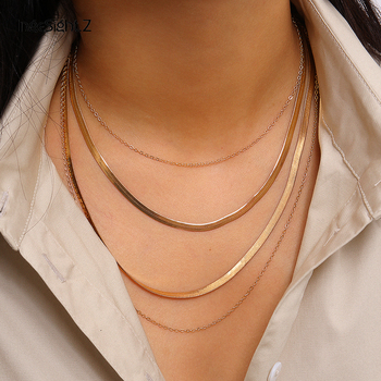 IngeSight.Z Punk Multi Layered Flat Blade Snake Link Chain Choker Necklace Simple Gold Color Collar Necklaces for Women Jewelry цена 2017