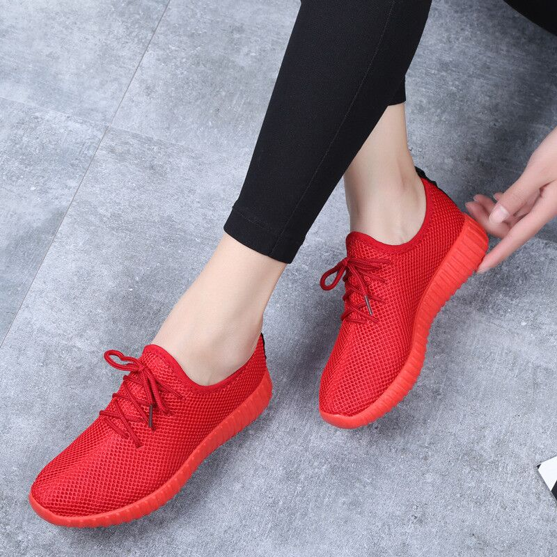 Women Flat Vulcanized Shoes Air Mesh Sneakers Autumn Non-slip Rubber Sole Lace Up Flats Soft Casual Red Walking Shoes Chaussures