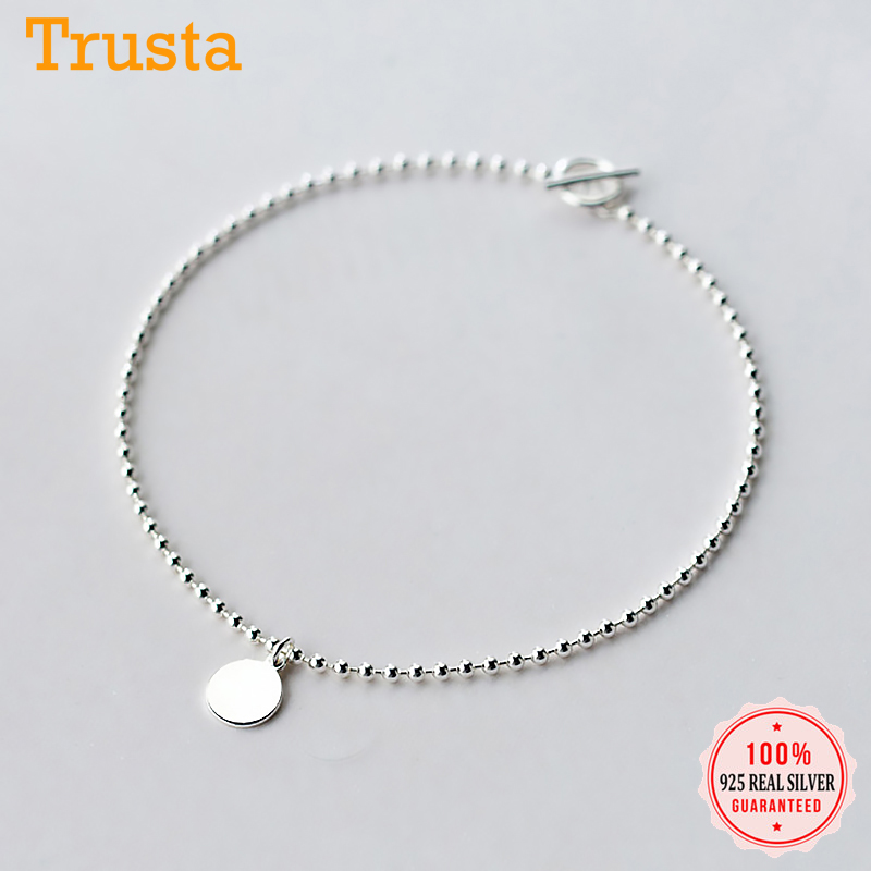Trustdavis Real 925 Sterling Silver Fashion Beads Chian Triangle Wafer Anklets For Women S925 Jewelry Birthday Present DA1346