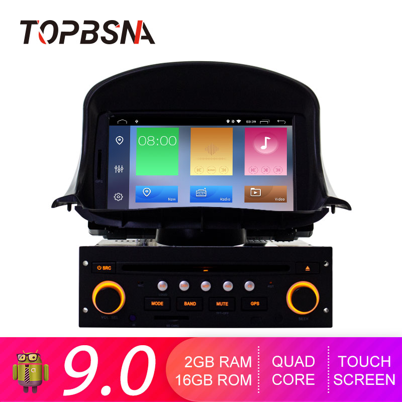 TOPBSNA <font><b>Android</b></font> 9.0 1 Din Car DVD Player For <font><b>Peugeot</b></font> <font><b>206</b></font> 206CC 2007-2014 GPS Navi Car Radio Multimedia WIFI Stereo Headunit RDS image