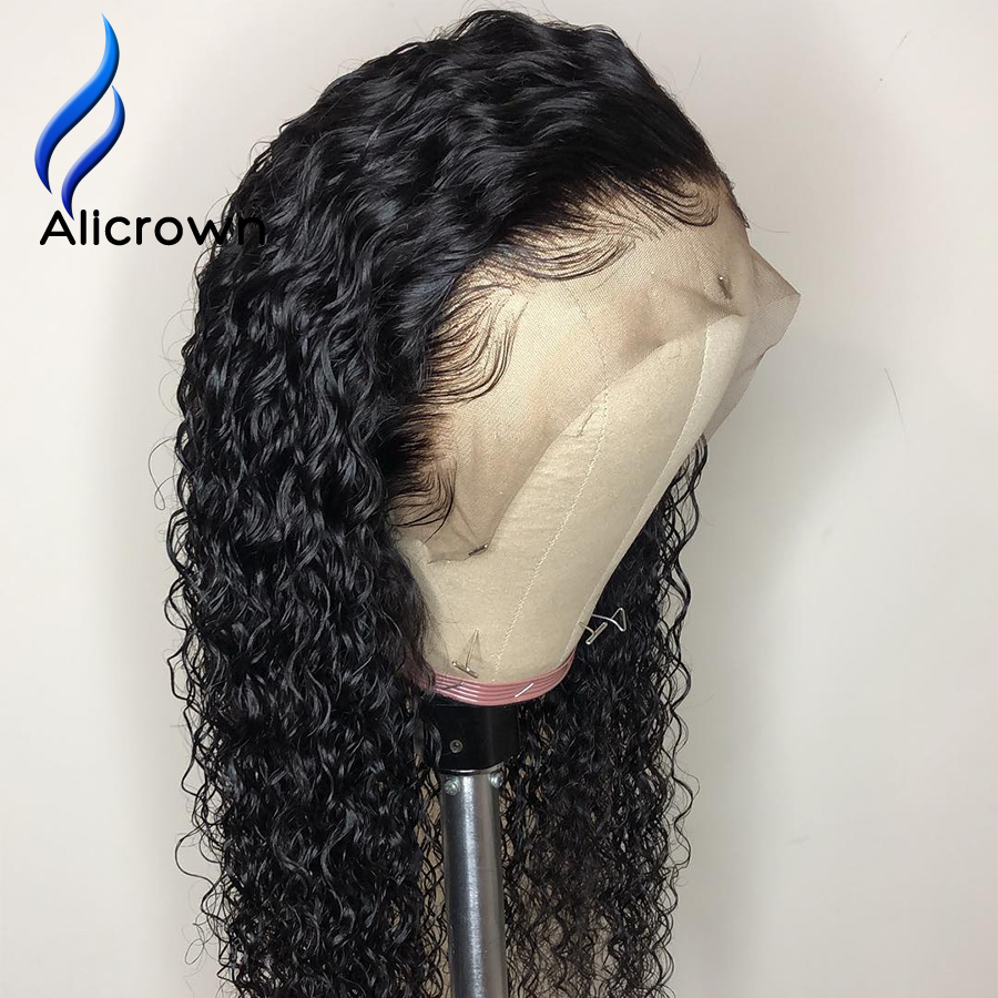 Image 4 - ALICROWN Curly Human Hair Wigs With Baby Hair Bleached Knots Brazilian 13*4 Lace Front Wigs Pre Plucked 130% Density Non  Remy-in Human Hair Lace Wigs from Hair Extensions & Wigs
