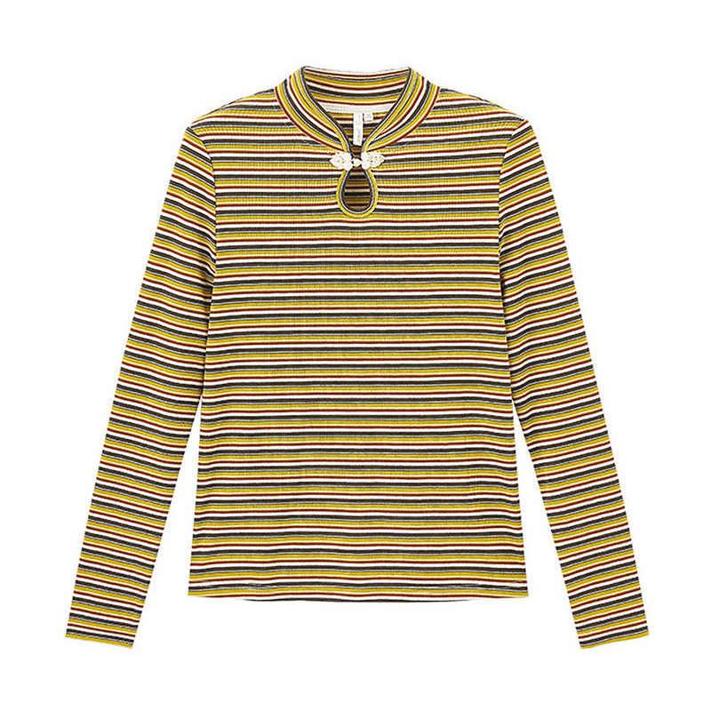 Inman 2020 Lente Nieuwe Collectie Literaire Retro Stijl Unieke Stand Kraag Gestript Patroon Vrouwen Comfortabele T-shirt