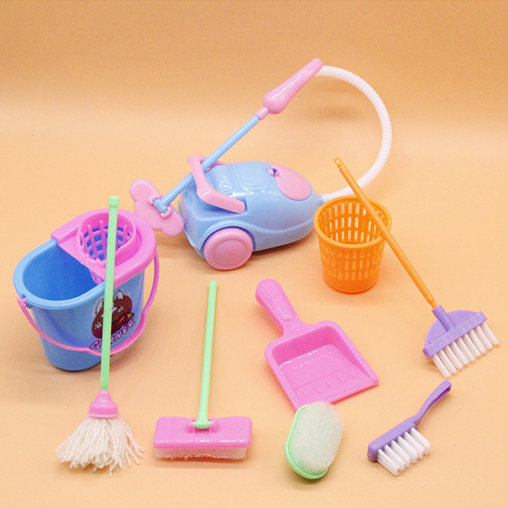 9 6pcs Baby Cleaning Tools Pretend Toys Kit Dolls Accessories Furniture Mop Broom Vacuum Cleaner Kids Kitchen Fun Over Home Toys