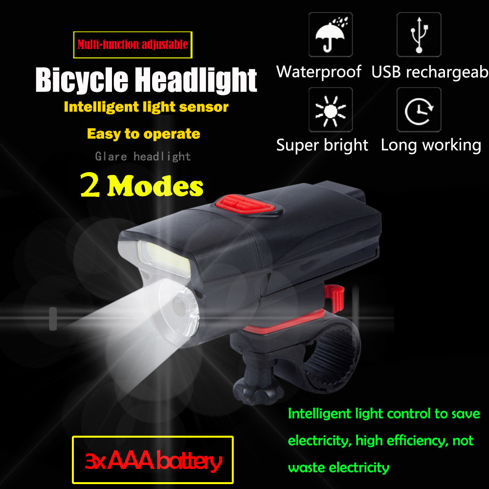 AAA Battery Bike Front Head Light Cycling Bicycle LED Lamp Flashlight 6 Modes Bu