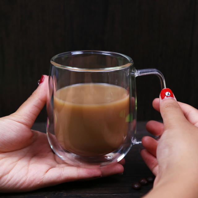1pcs Double Wall Glass Cup Beer Coffee Heart Cups Heat Resistant Healthy Drink Mug Tea Mugs Transparent Drinkware Dropshipping 5
