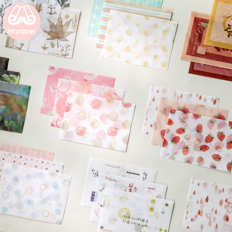 Mr Paper 3pcs/lot 8 Designs Sulfate Paper Envelopes With Seal Sticker Strawberry Peach Sunflowers Creative Kawaii Gift Envelopes